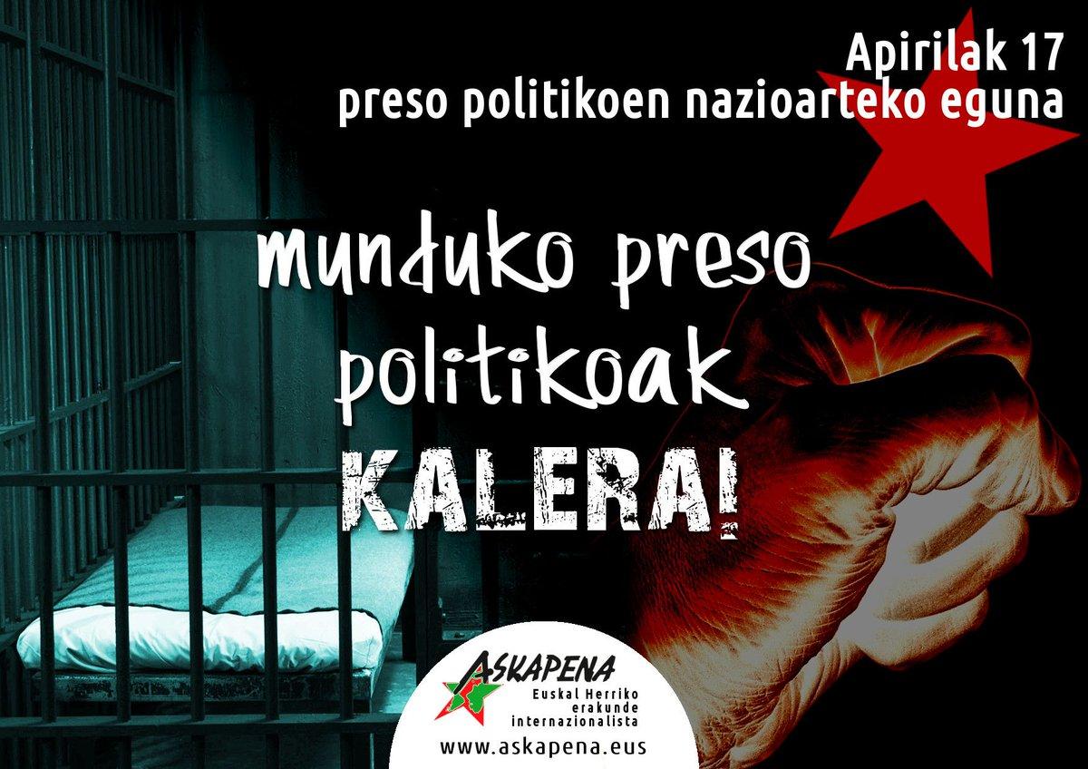 Munduko preso politikoak kalera! https://www.argia.eus/albistea/munduko-preso-politikoak-kalera…  @Askapenako bi kideren irakurketa nazioarteko preso politikoen egunaren harira.