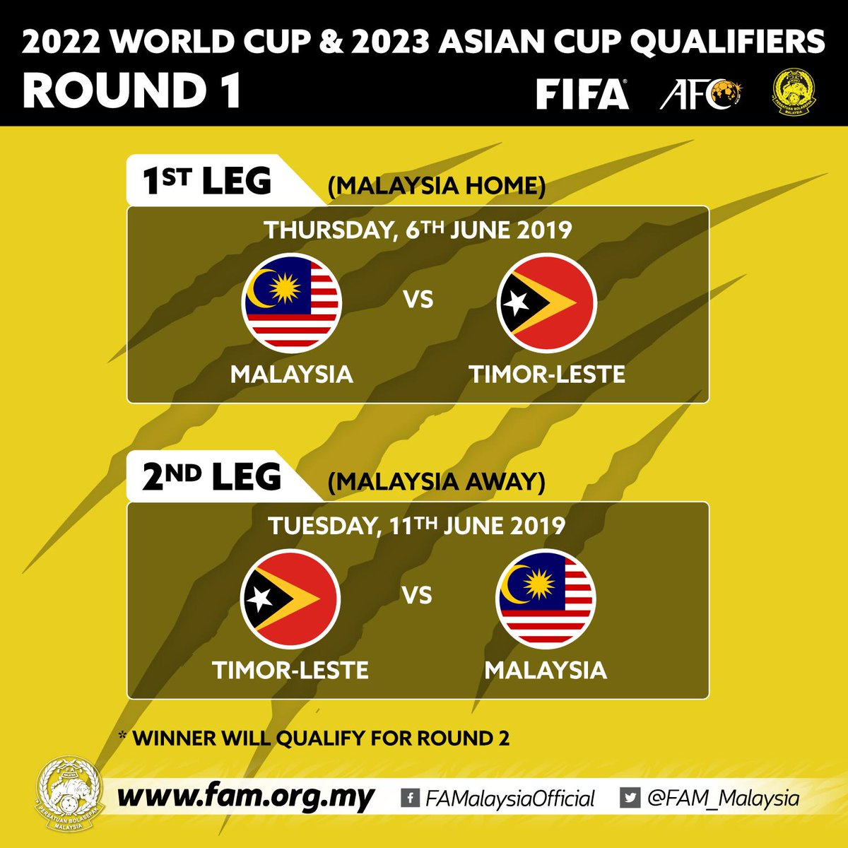 2022 World Cup & 2023 Asian Cup Qualifiers  Round 1  1st Leg - Thursday, 6th June 2019 MALAYSIA vs TIMOR-LESTE Venue: TBC  2nd Leg - Tuesday, 11th June 2019 TIMOR-LESTE vs MALAYSIA Venue: TBC  * Winner will qualify for Round 2  #FAM #HarimauMalaya