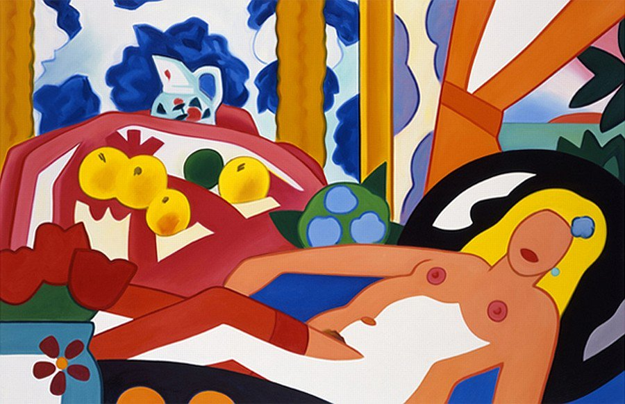 🎨 Tom Wesselmann and Matisse (2) Sunset Nude with Matisse apples on Pink Tablecloth, 2003 by Tom Wesselmann