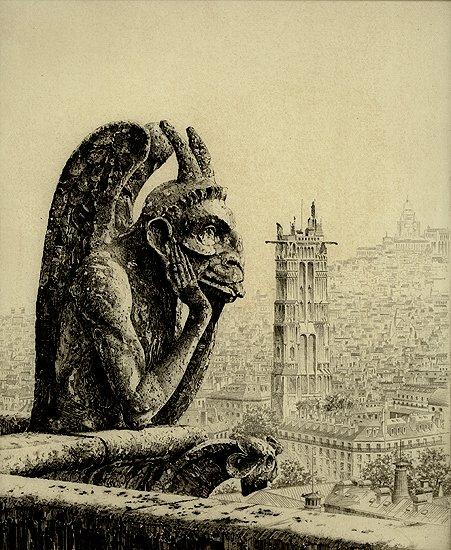 Les Gargouilles de Notre Dame (le penseur, le diable)  John Taylor Arms (1887 - 1953) #dessins