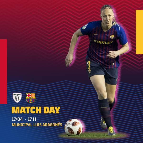 🔥 [MATCH DAY!] 🚨  ⚽️ @MadridCFF - @FCBfemeni 🏆 #LigaIberdrola (J28) ⌚️ 17.00h 🏟 Municipal Luis Aragonés 📺 Movistar Vamos  #ForçaBarça #WeAreFootballers