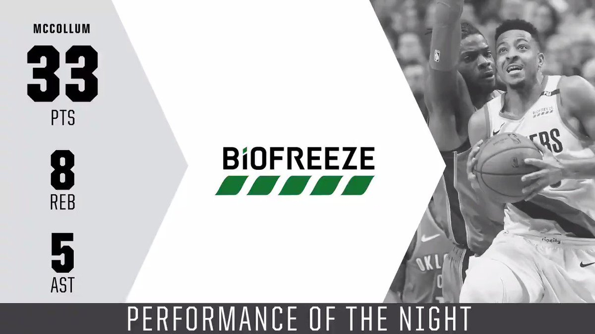 """Seeing @bosnianbeast27 go down, it gives you a clarity & understanding that you shouldn't take this game for granted ever. In his honor, I want to make sure I take full advantage."" - @CJMcCollum   Tonight's @Biofreeze Performance of the Night."