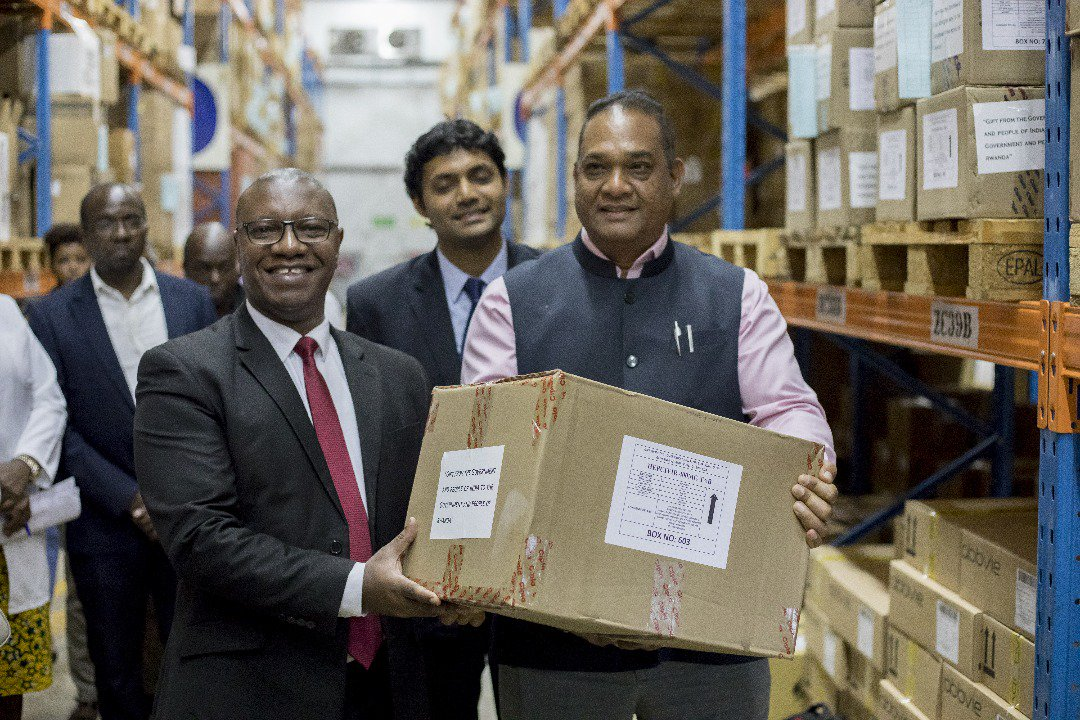 A gift by the people of India to the people of Rwanda! - Medicines worth  US $ 2 million to fight against HIV AIDS, Hepatitis B and Hepatitis  C. Official ceremony for the handing over of the medicines, organized by  the Ministry of Health of Rwanda @RwandaHealth. #IndiaRwanda