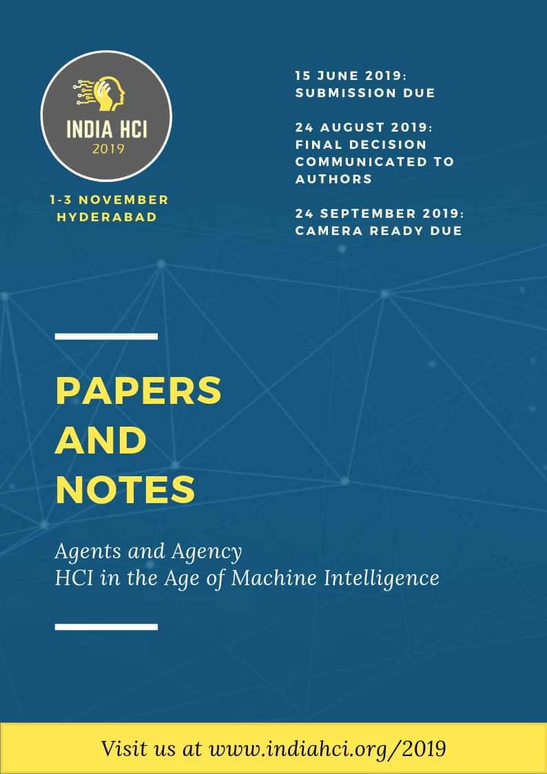 Call for Papers and Notes🎓  #InHCI19