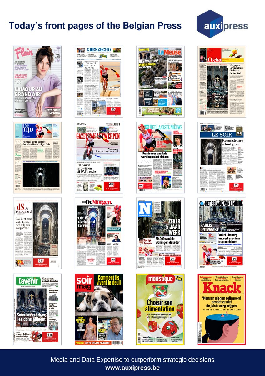 #Newsoftheday 📰💡📝- Discover today's front pages of the #BelgianPress ! #FredRutten #VictorCampenearts #NotreDame #NotreDameCathedralFire #EmmanuelMacron #ChristianoRonaldo   #JuventusAjax #EnnemiPublic #Cannabis #Kingspan #GretaThunberg #KidNoize #Dupuis #Kardashians