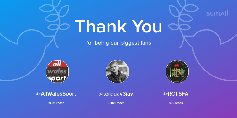 Our biggest fans this week: @AllWalesSport, @torquay3jay, @RCTSFA. Thank you! via https://sumall.com/thankyou?utm_source=twitter&utm_medium=publishing&utm_campaign=thank_you_tweet&utm_content=text_and_media&utm_term=3af325a4942b14340bcfe63c…