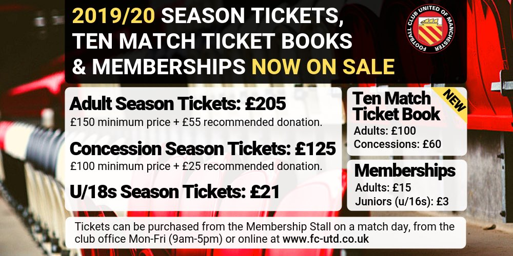 We have already have sold 174 Season Tickets for next season. Thanks to everyone that has bought one. 👍  Season Tickets, TMTBs and Membership can be bought online, from the Membership Stall at Monday's match or from the club office Tel. 0161 769 2005.  http://www.fc-utd.co.uk/story.php?story_id=8328 …
