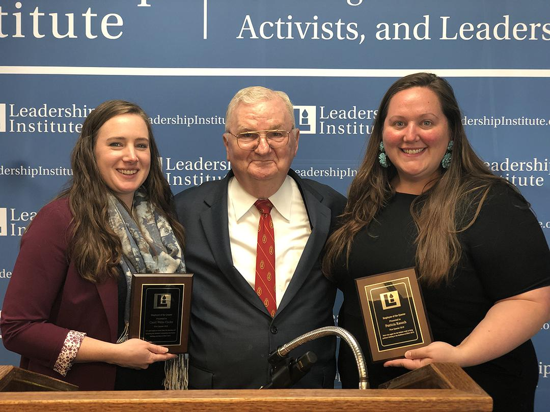 Congratulations to the Leadership Institute's Employees of the Quarter, Carole Wehe Cocks and Patricia Rausch for their tireless work to bring political training to the forefront at #CPAC2019. #employeeofthequarter #LearntoWin #thankyou