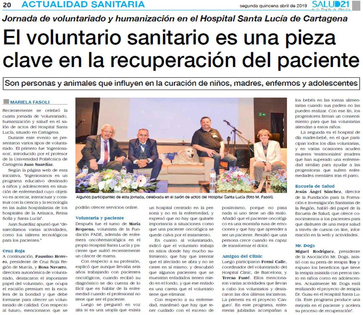 Jornada de #voluntariado y #humanización en el Santa Lucía. El #voluntario #sanitario, #piezaclave en la #recuperación del #paciente. http://www.salud21murcia.es/sites/default/files/258%20COMPLETO%20baja_0.pdf… pág. 20 @Area2Cartagena @FFIS_CARM @UPCTnoticias @hospitalclinic @CruzRojaMurcia @AreaUnoArrixaca @Area7ReinaSofia