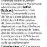 Image for the Tweet beginning: #revuedepresse : l'#HôtelLittéraire Arthur #Rimbaud