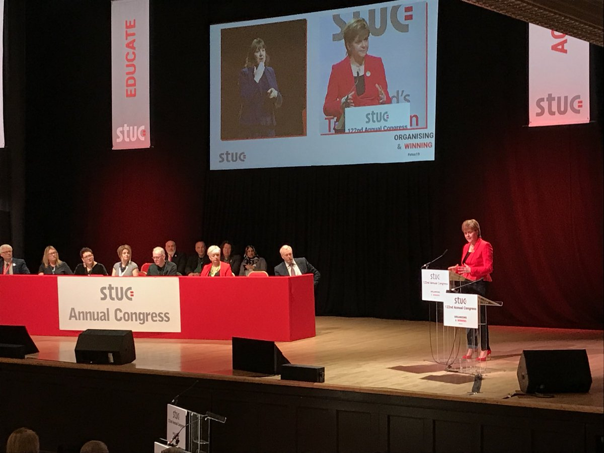 FM @NicolaSturgeon reiterates that government intervention in energy supply chains is critical for a carbon neutral economy #STUC19. Read our report that makes the case: http://www.stuc.org.uk/files/Broken%20promises%20and%20offshored%20jobs%20report.pdf…