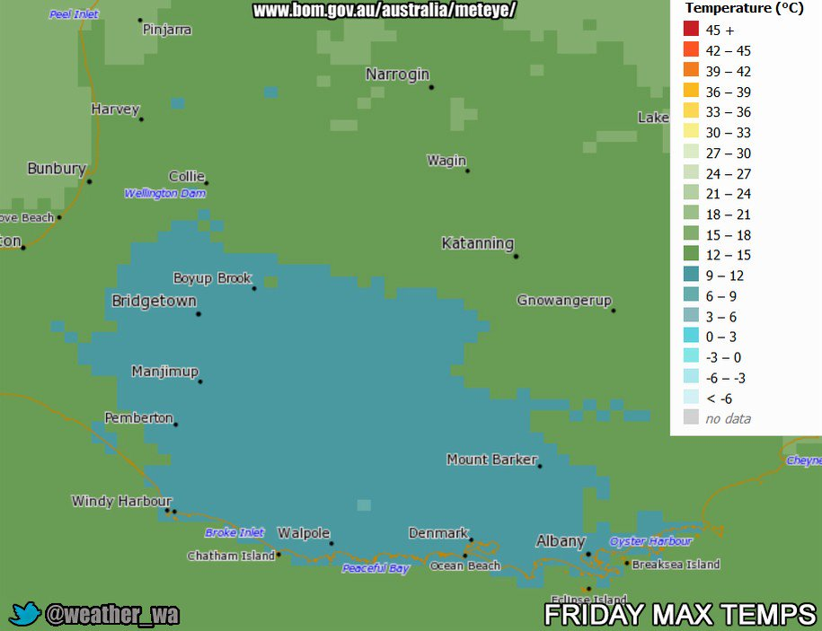 Some Cold Maximum Temperatures Forecast For Inland Parts Of #SouthWestWA And The #GreatSouthern Region On Friday, Snow Is Forecast For #BluffKnoll #StirlingRanges And #Porongurup From Late Friday To Early Saturday Morning #Albany #Bridgetown #Collie #Manjimup #Pemberton #Walpole