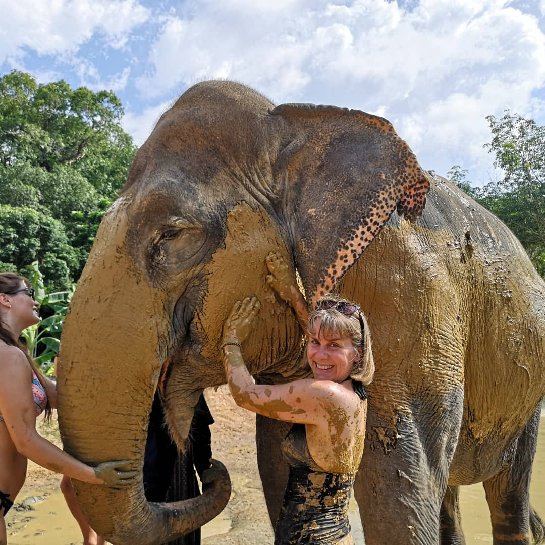 Have had the most special day playing with and washing these amazing animals #greenelephantsanctuaryphuket pic.twitter.com/MbQG8HhmXr