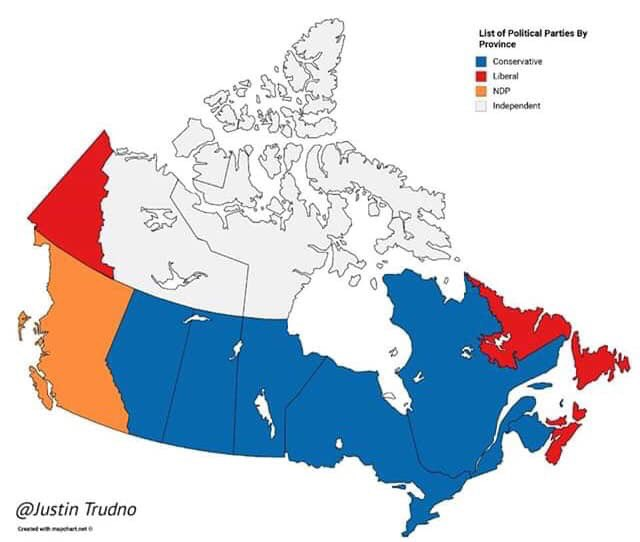 Canada , current status: #blue #BlueWave  the Liberals must be terrified for October  personally, I couldn't be more excited!! It's almost over Canada, relief is coming!! #vote <br>http://pic.twitter.com/aJrhFwygkY