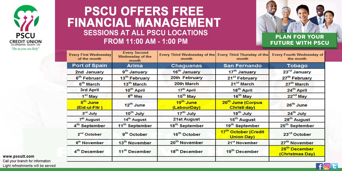 #PSCU Offers FREE Financial Management Sessions at all our locations. See calendar for details!  #OnUsYouCanRely