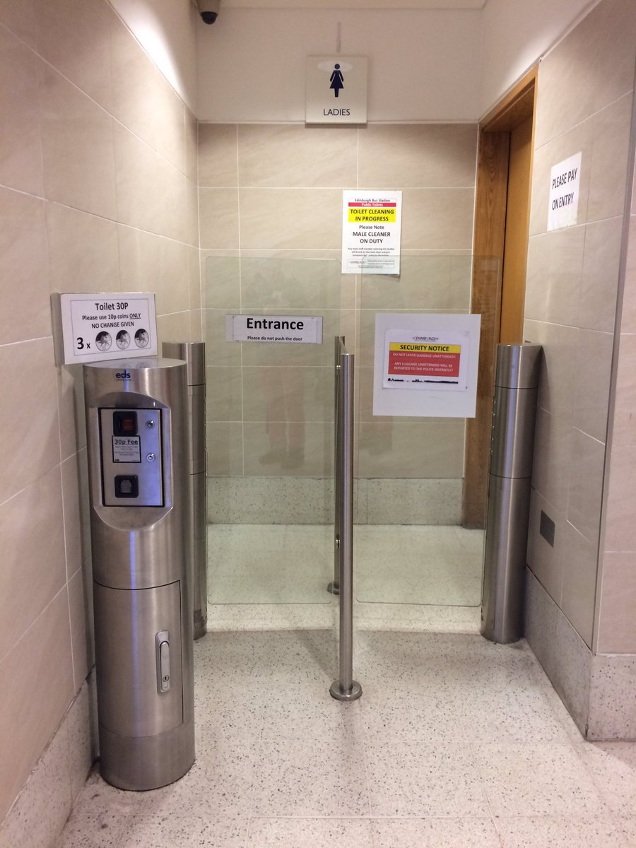 Edinburgh Bus Station - still 30p to use toilets - but majority of people who travel by bus are on low incomes - surely time to follow lead of major railway stations and provide free toilet facilites 🚽🚌🚌