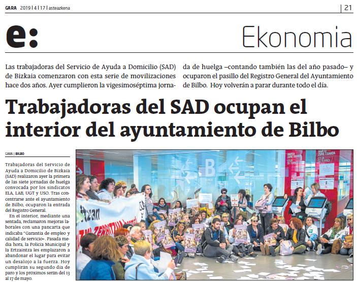 La precariedad tiene rostro de mujer, también en las administraciones: El Ayuntamiento de Bilbao prioriza los intereses privados a la dignidad de las trabajadoras de sus servicios públicos, y los dos años de lucha de las trabajadoras del SAD lo demuestran. Merecemos algo mejor!