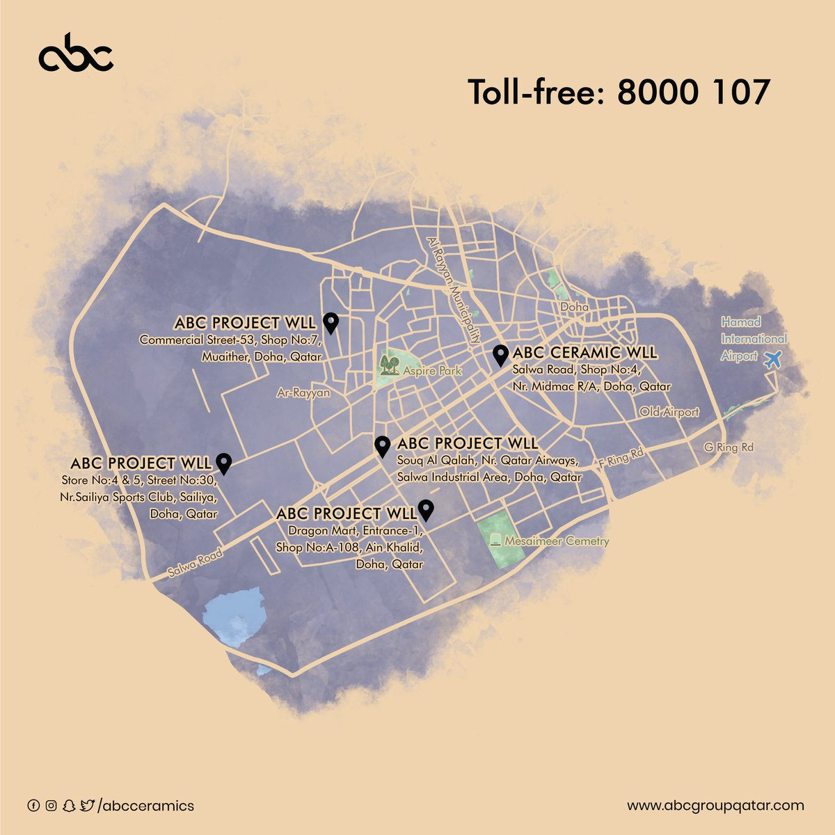 330e512ee ... sanitaryware dealer in Qatar. Explore our latest collections from any  of our showrooms... #abcceramic #ceramic #sanitaryware #locations #abcmap  #doha ...