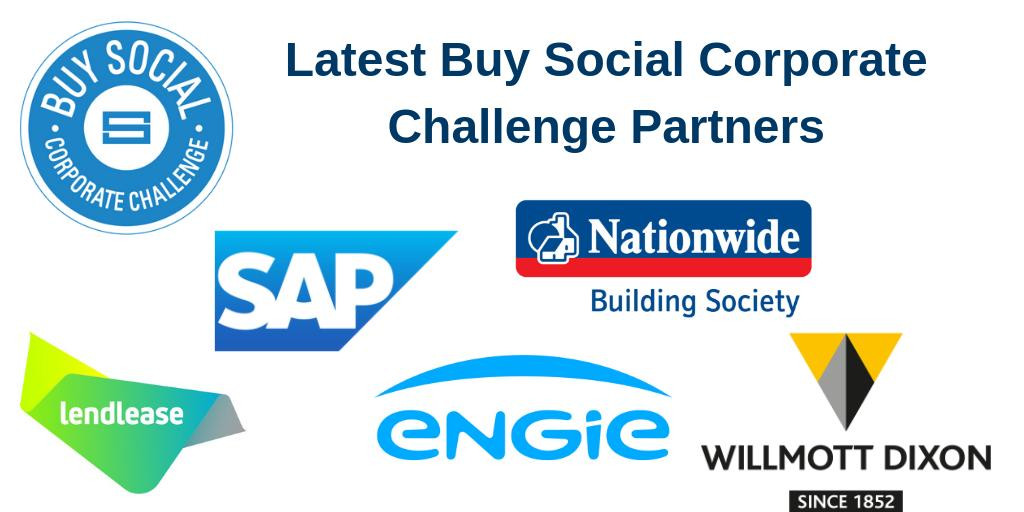 We are very pleased to announce 5 new Partners joining the #BuySocial Corporate Challenge who are committed to using their purchasing power to change lives. Welcome on board @SAP @NationwidePress @ENGIE_UK @WillmottDixon @Lendleaseuk! #socent