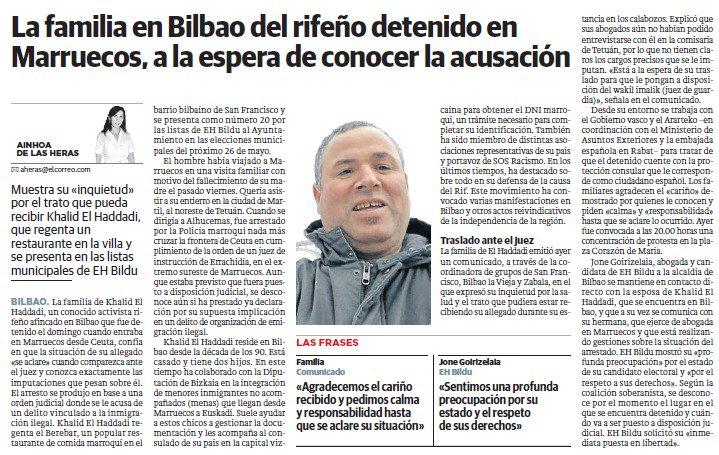 Los diarios @elcorreo_com , @garanet y @QueNervion se hacen eco  de la detención de nuestro compañero Khalid el Haddadi en la frontera de Ceuta, durante un viaje a Marruecos por asuntos familiares, que @ehbildubilbo denunciaba ayer, exigiendo su liberación.