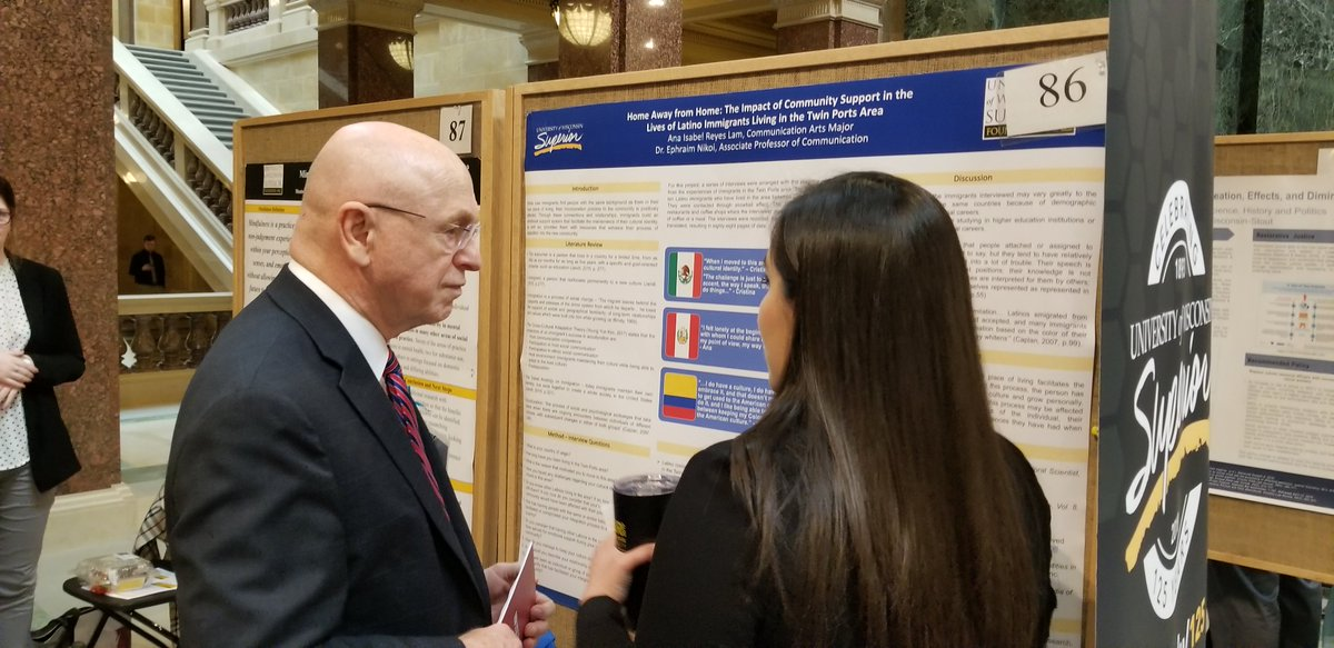 UW-Superior students were able to present their research to @RayWCross, @JanetBewley4WI, and Regent Jan Mueller among many others today at the 16th annual Research in the Rotunda in Madison. #UWSystem #RITR2019 #UWResearch #AllinWI #WITalentPipeline https://t.co/CadxvhjSzS