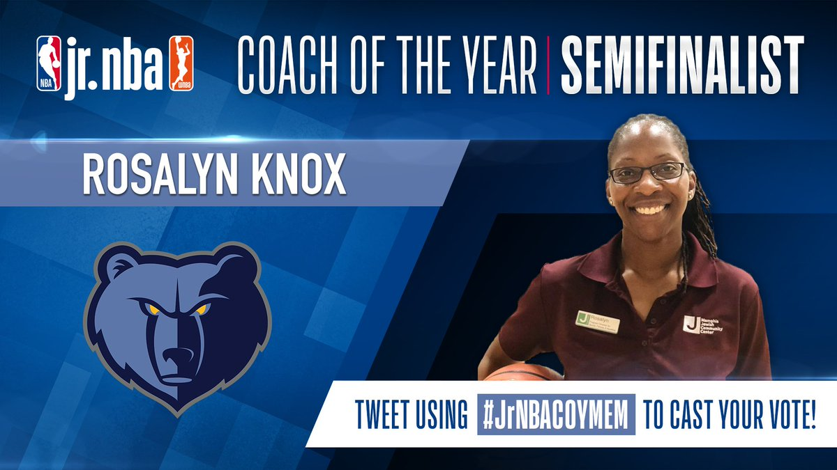 ☑️Memphian ☑️Played collegiately ☑️Certified trainer / licensed coach ☑️@memgrizz supporter ☑️Inclusive, caring, and a leader  #GrizzNation - let's help make Rosalyn Knox National @jrnba Coach of the Year!  Your RT's count TWICE today, and it's the LAST DAY TO VOTE. #JrNBACOYMEM