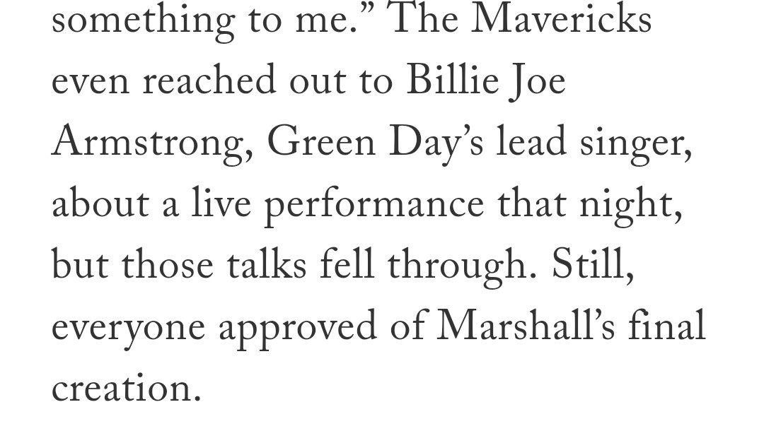 """From today's awesome @tim_cato piece on Dirk's ceremony.   That night was perfect, and the sheer """"Holy crap"""" feeling when the NBA legends walked out would be impossible to top, but man I can't even imagine how awesome it would be if Billie Joe Armstrong had just appeared suddenly"""