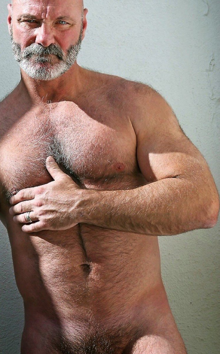 Hairy chests of older men
