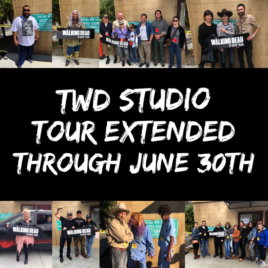 TWD StudioTours extended through June 30th! Visit https://t.co/r7gbev6Lox to learn more. #TWD #TWDStudioTour https://t.co/g2E8IjNfAl