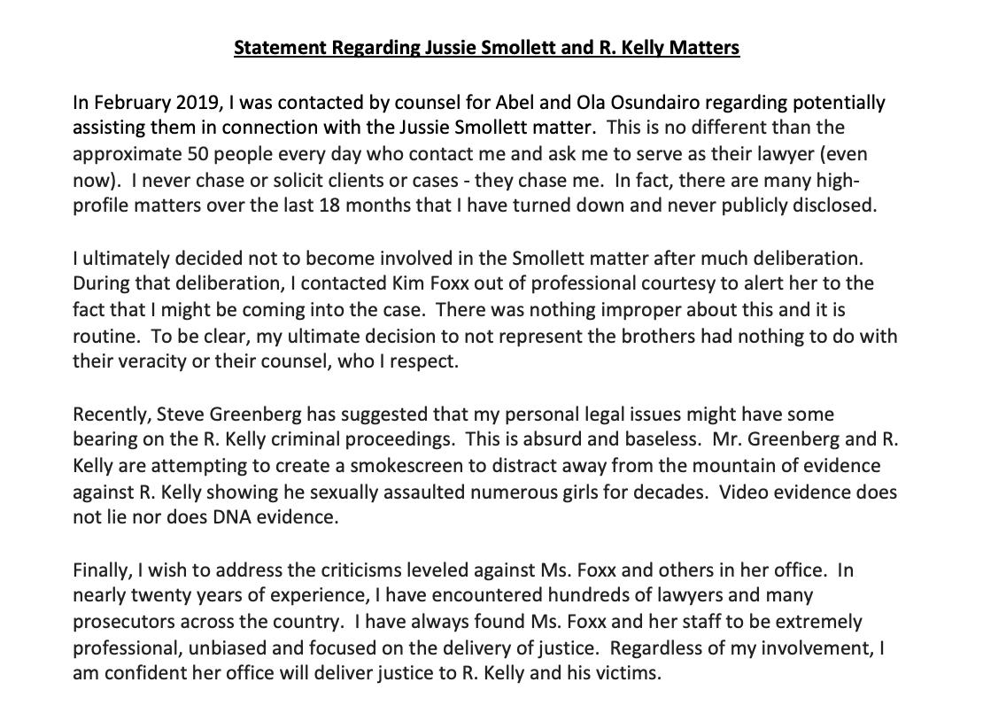 Below please find my statement regarding the Smollett and R. Kelly matters.