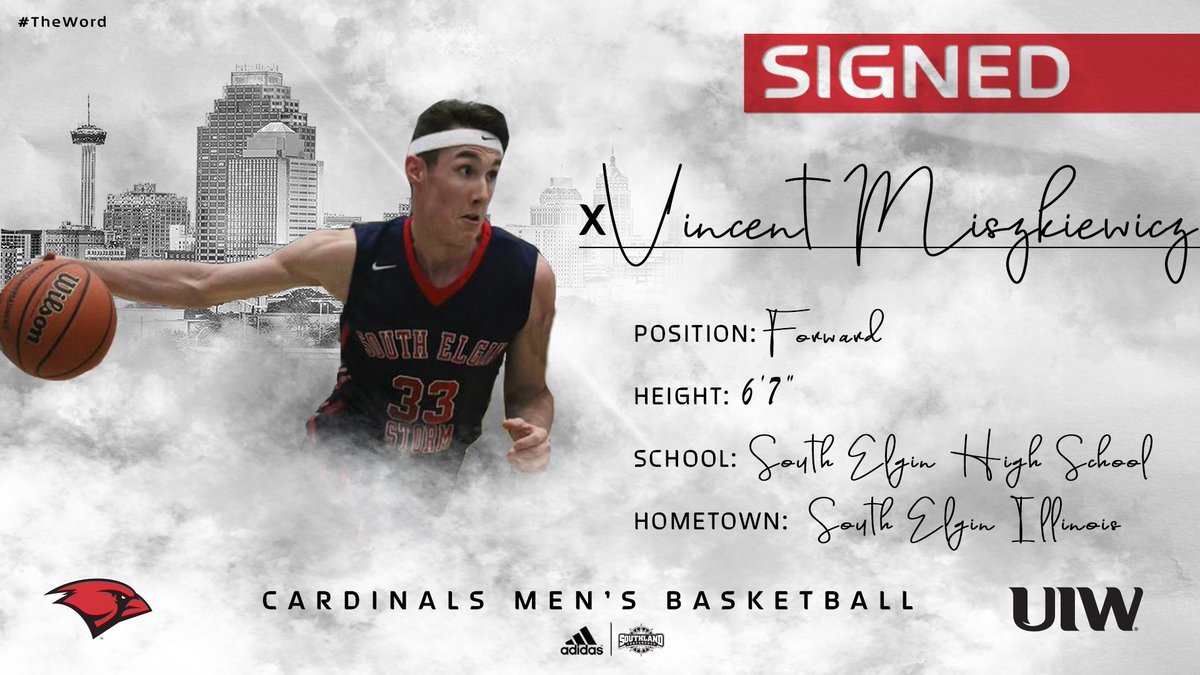 ✍️SIGNED  Welcome to UIW Vincent Miszkiewicz!  Get used to it Cardinals fans, MISS-kev-it. With his scoring ability in the paint, we'll be cheering for him a lot the next four years.  #TheWord #WelcomeToTheNest