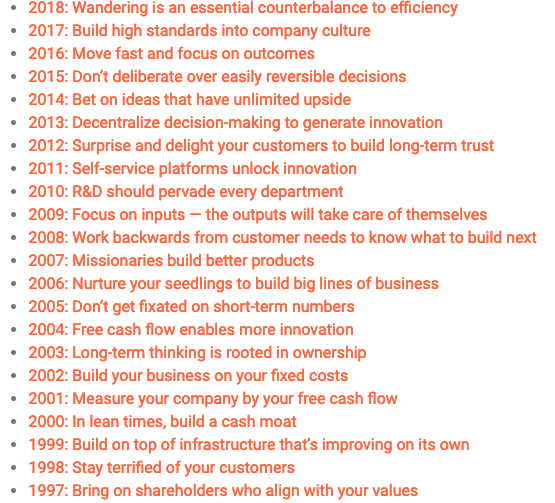 Love the way @CBinsights pulled a clear lesson from each of @amazon CEO Jeff Bezos&#39; annual shareholder letters. There are definitely some gems in here. Full analysis at  https://www. cbinsights.com/research/bezos -amazon-shareholder-letters/ &nbsp; … <br>http://pic.twitter.com/xZ7CMQfasr