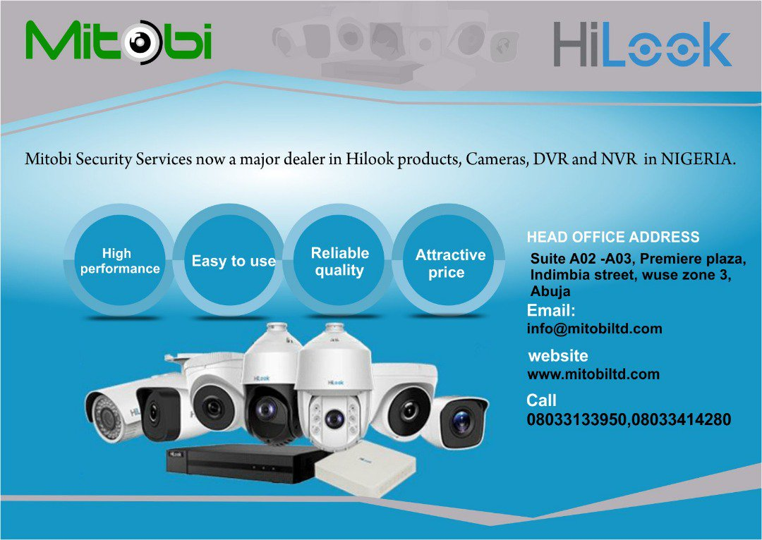 Mitobi Security Services is a major dealer in #HiLook Products in Nigeria. The product is so unique that it works with HD and AHD DVR seamlessly with very good clarity. #hilook #CCTV #surveillancecamera #surveillancesystem #DVR #NVR #remoteview #cloudbasedsystem #mitobisecurity