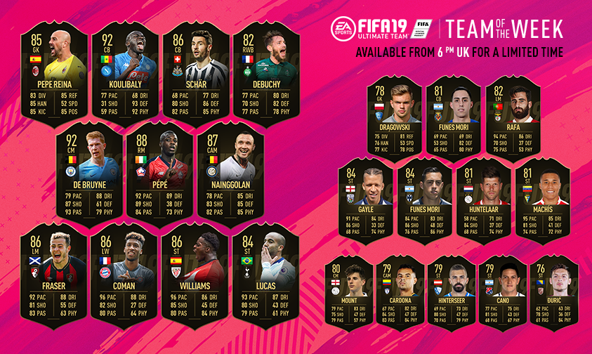 💪 #TOTW with @DeBruyneKev, @kkoulibaly26, Nicolas Pepe, and @OfficialRadja! #FUT