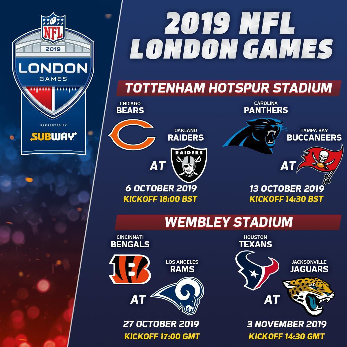 Nfl Uk On Twitter The 2019 London Games Schedule