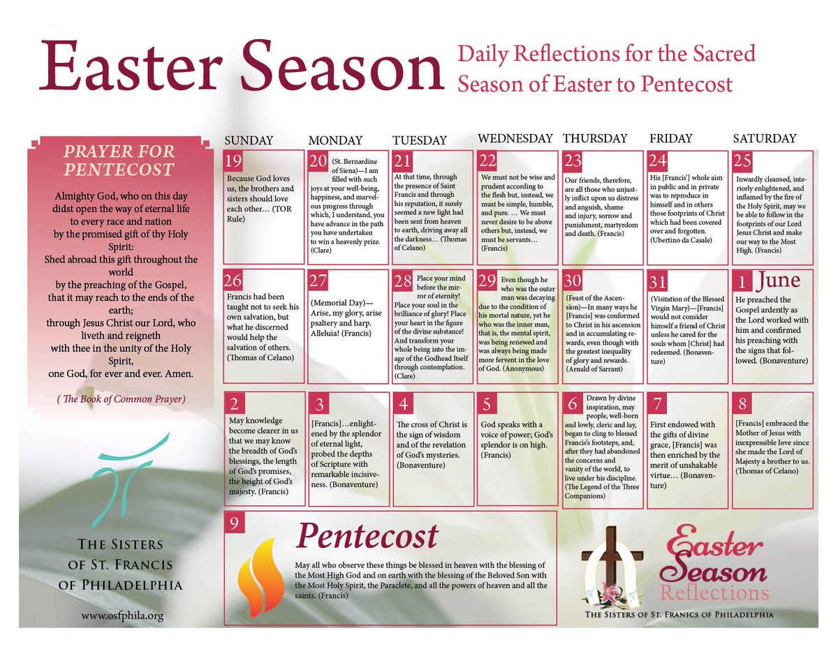 """test Twitter Media - This Easter Season calendar is a """"sequel"""" to the Lenten Calendar. Each quote is from the Franciscan Morning and Evening Prayer used by Third Order Regular Franciscans and many others. Learn more here: https://t.co/gphyCE4tyH https://t.co/mrohKT1B74"""