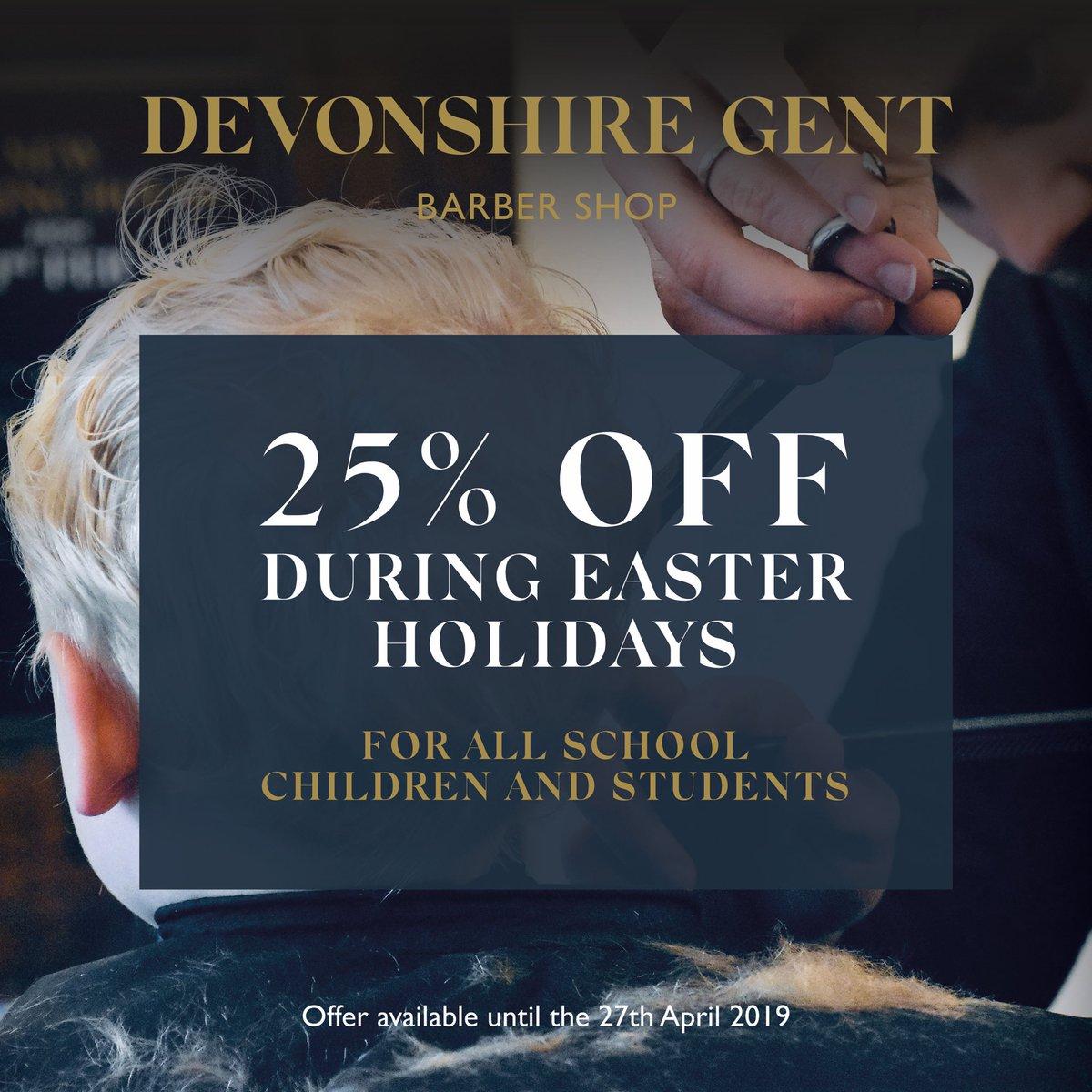 It's 25% OFF for all school kids & students at Devonshire Gent Barbers over the Easter holidays! #Harrogate #barber #familybarber #menshair #EasterHolidayspic.twitter.com/XLZ5hft3bd