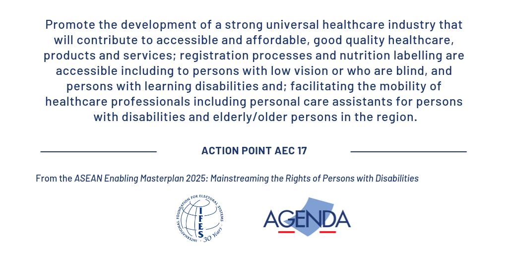 #SDG 3 and #CRPD Article 25 on health can only be reached once we have affordable healthcare for all that is accessible to persons with disabilities. #EnablingMasterplan #EnablingApril @agendaasiaorg https://asean.org/asean-enabling-masterplan-2025-mainstreaming-rights-persons-disabilities/ …