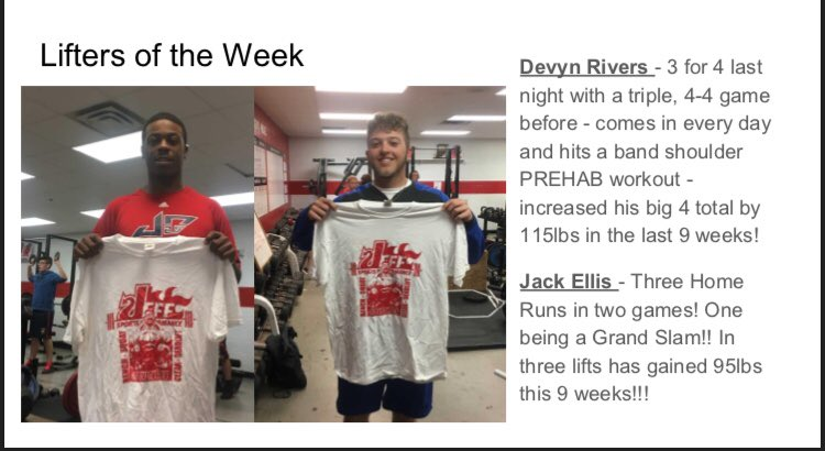 So much good going on in our spring sports we got a second run of lifters of the week! @JHSRedDevils  @gccschools @oz6to4to3 @JeffRedDevilBB @Jeffsportsperfo