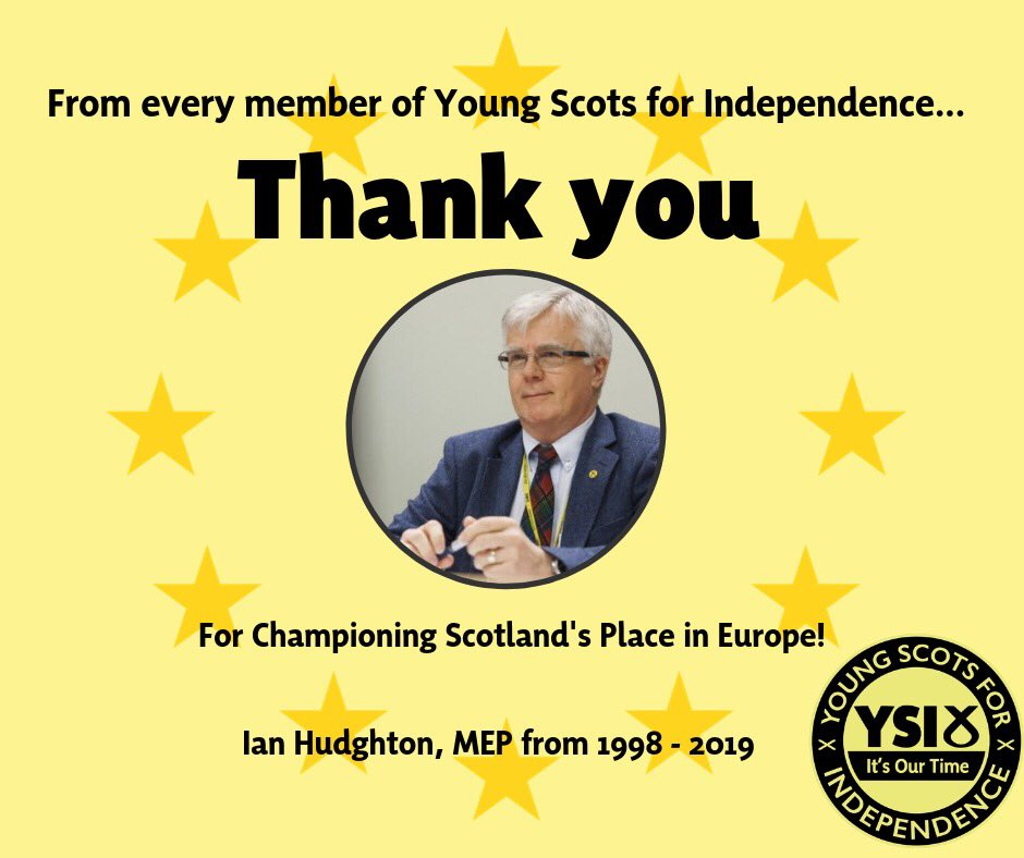 We would like to give a huge thank you to Ian Hudghton MEP for his years of service as an SNP Parliamentarian working for the people of Scotland.  Few people have done so much to champion Scotland's place in Europe as Ian. 🇪🇺  Happy retirement!