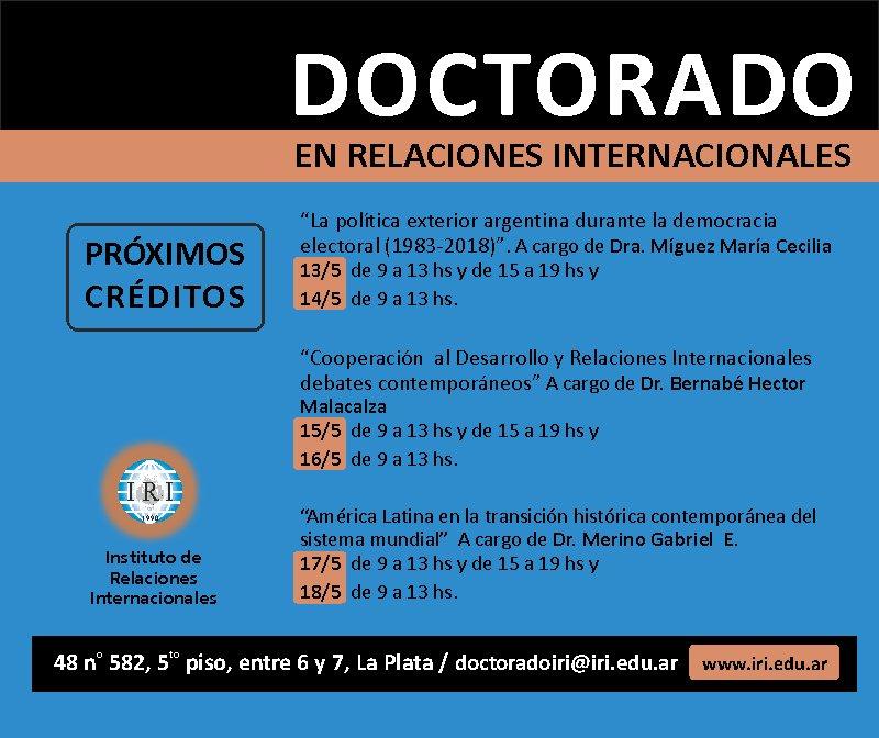 ... http://www.iri.edu.ar/index.php/2018/04/23/cursos-del-iri/ … … Contacto: doctoradoiri@iri.edu.ar #RRII #DoctoradoIRI #Creditospic.twitter.com/tlI5GF99Zz