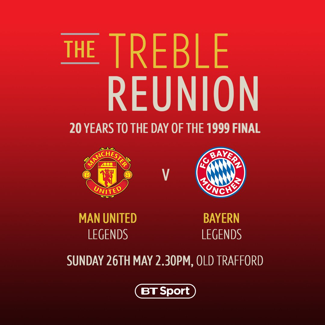 Man Utd Legends vs Bayern Legends 🙌  20 years to the day of THAT final in Barcelona 👊  🏆 The Treble Reunion 📆 Sunday 26th May 📺 BT Sport HD 💻 http://YouTube.com/BTSport