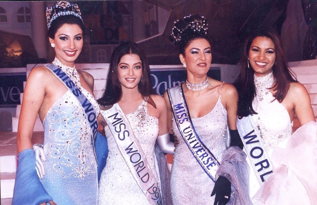 The golden era of Indian beauty queens    Left to right:  Miss World 1999 ( Yukta Mookhey)  Miss World 1994 (Aishwarya Rai) #MissUniverse 1994 (Sushmita Sen) and  #MissWorld 1997 (Diana Hayden)     <br>http://pic.twitter.com/3b0vP9xZ71