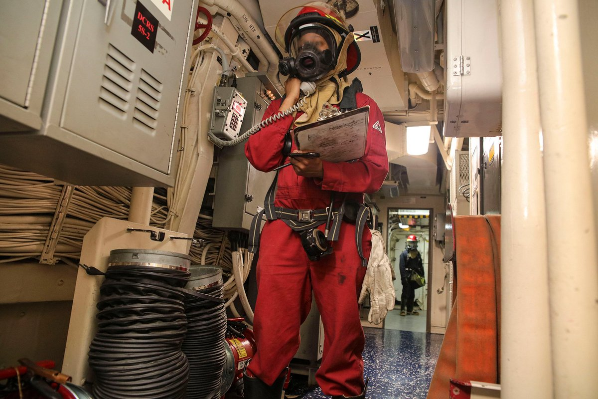 When it comes to living on a @USNavy ship, safety is everyone's job. This firefighter instructor's job is to make sure they're ready. #KnowYourMil