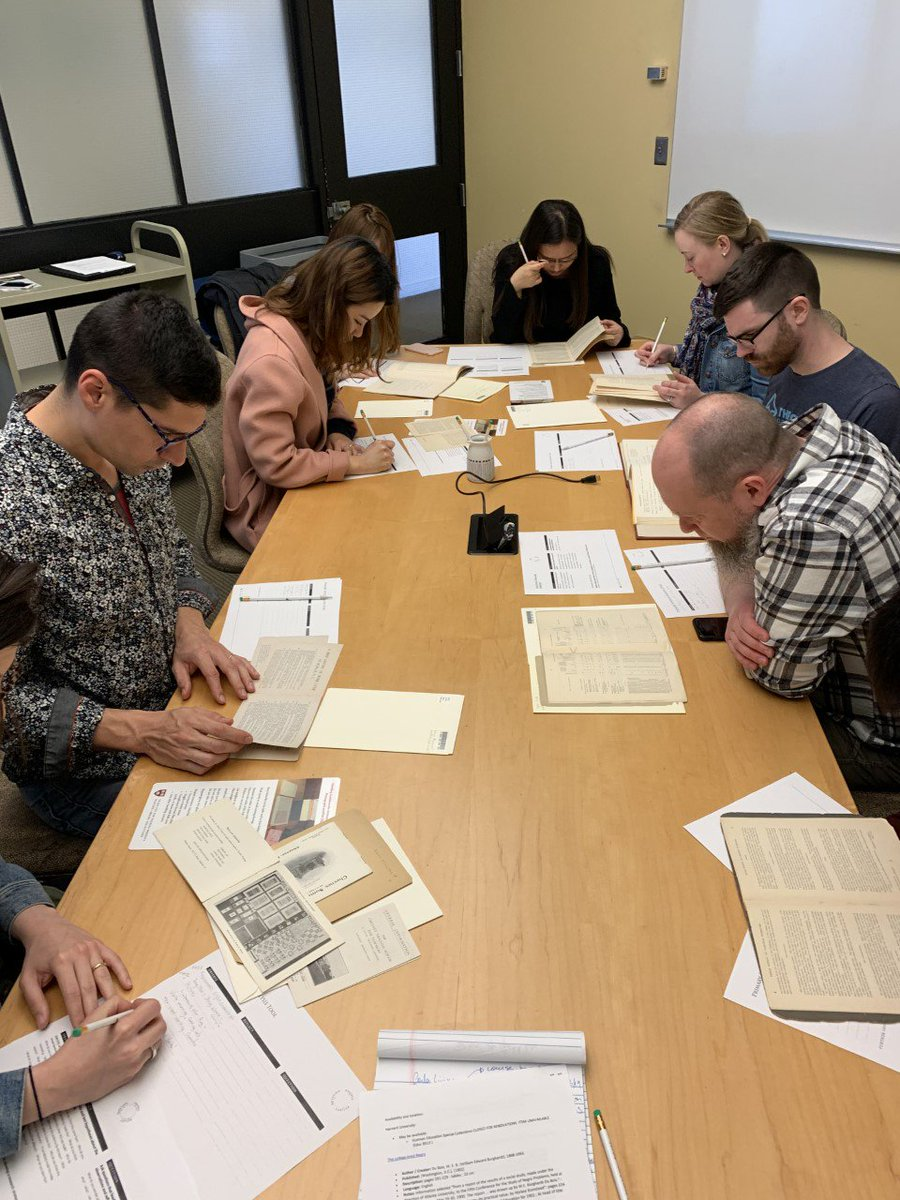 First-year Ph.D. students from @bclynchschool explore Gutman Library's Special Collections with faculty member @GabrielleMRO and research librarian Carla Lillvik. #ContextsofCurriculum