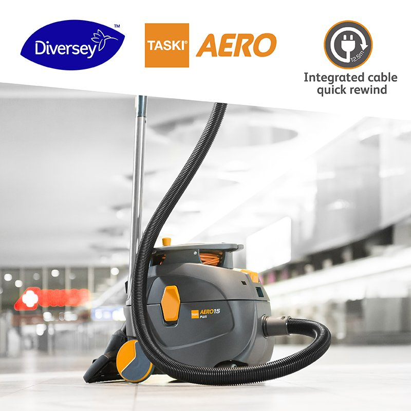 With an integrated cable rewind option, #TASKIAERO allows fast and quick cable storage to save user's handling time and minimize machine replacement cost. Learn more about all-day vacuuming and the quietest vacuum technology on the market: http://ow.ly/UkqN50p5CjX #Diversey
