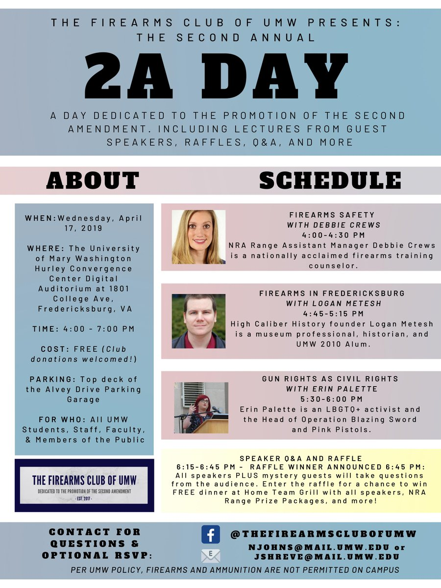 Today is The Firearms Club of UMW&#39;s 2A Day! A day dedicated to the promotion of the second amendment, including lectures and Q&amp;A. Below is the link to our live stream if you&#39;re unable to attend and attached is our flyer with more information!  https://www. youtube.com/watch?v=Nkksv9 UMzOw &nbsp; … <br>http://pic.twitter.com/z3sIcYKadx