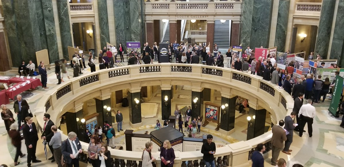 UW-Superior students joined their peers from across the @UWSystem today to take part in the 16th annual Research in the Rotunda in Madison and share their research findings on a variety of important topics. #UWSystem #RITR2019 #UWResearch #AllinWI #WITalentPipeline https://t.co/WcsUiOkRZ9