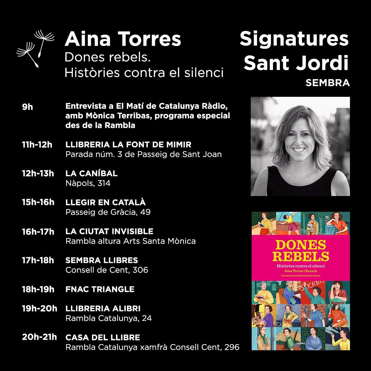 Aquests són els llocs on signaré aquest #SantJordi! 📕🌹  A part de #DonesRebels també signaré #BauladeLaNit i #ManuAldePedrolo.  Ens hi veiem! 💜  #SantJordi2019