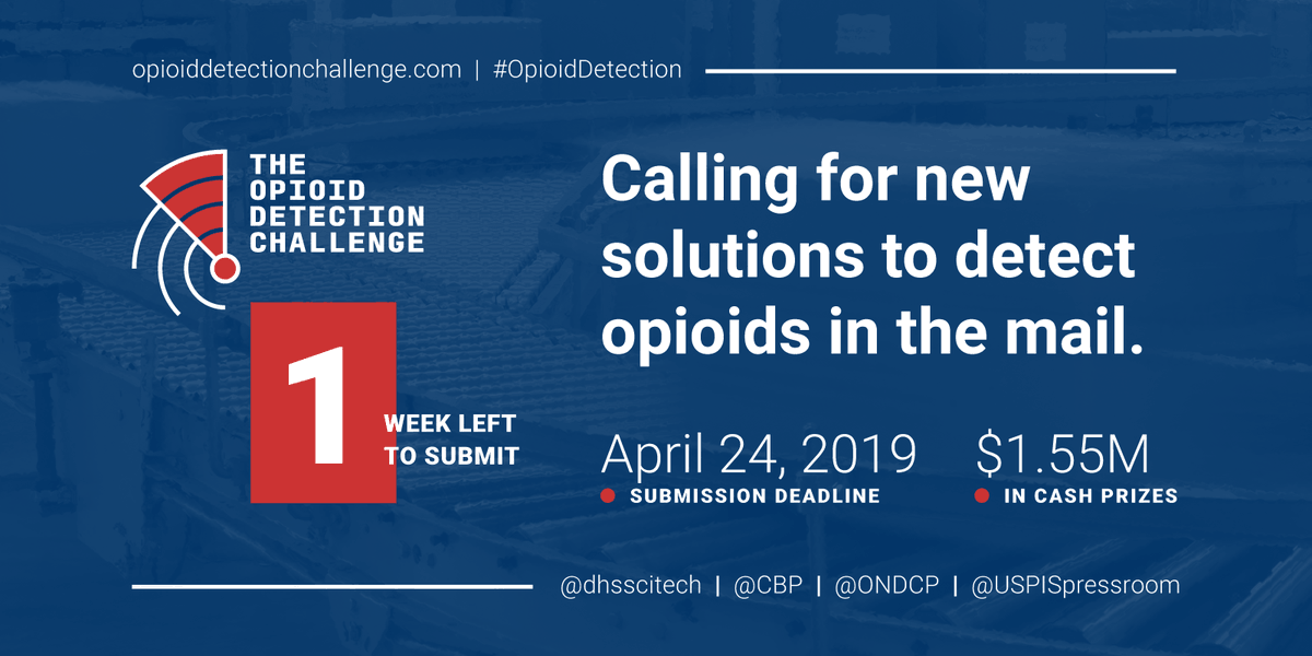1 week left to enter the $1.55M #OpioidDetection Challenge: Submit your ideas for new tools or tech to help disrupt the flow of opioids through international mail. Enter by April 24: http://opioiddetectionchallenge.com